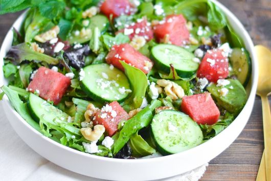 Watermelon and Cucumber Salad with Mint-Honey Vinaigrette