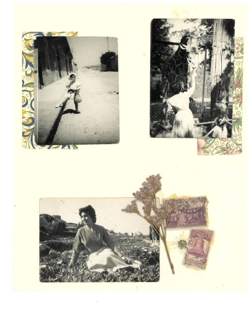 Top left: Rebecca's mom as a babe in La Maddalena, Sardegna. Top right: Rebecca's mom and nonna feeding a giraffe at the zoo in Rome. Bottom: Rebecca's nonna in Sardegna.