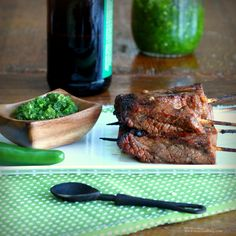 Beer and Sriracha Marinated Beef Skewers with Green Chile Sauce