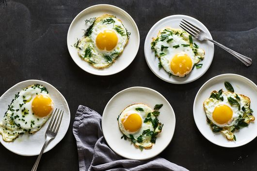 Fried Eggs With Fried Herbs