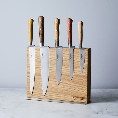Laguiole en Aubrac Mixed Wood Knife Set & Magnetic Block