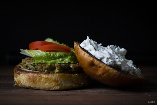 Chickpea Burger with Yogurt Cucumber Sauce