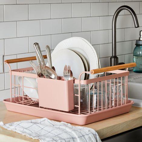 Blush Wood-Handled Dish Rack