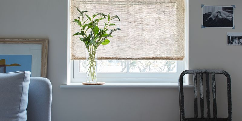 Burlap roller shades that actually roll up and down!