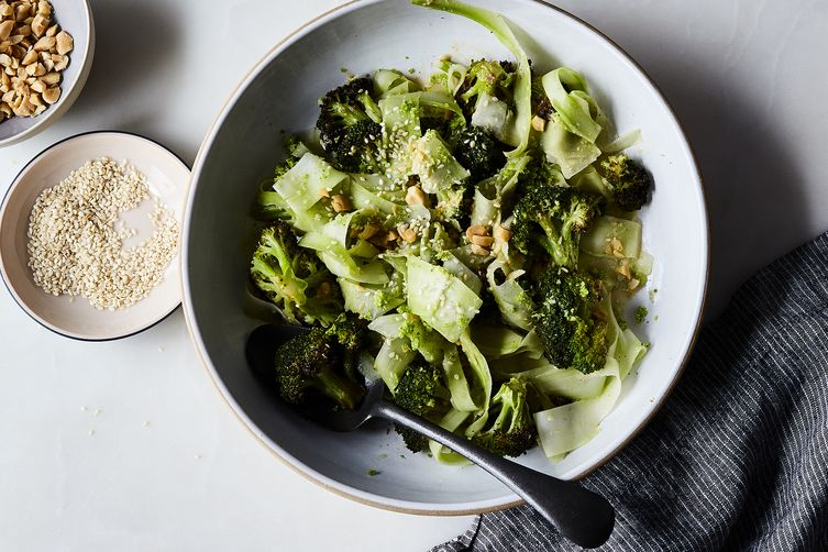 Roasted and Raw Broccoli Salad with Creamy Miso Dressing