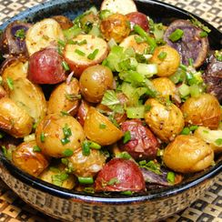Roasted potato salad with herbs