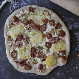 Pizza with Roasted Tomatoes, Oyster Mushrooms and Crispy Bacon