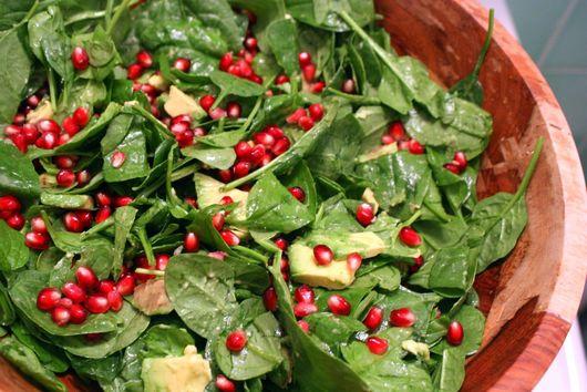 Spinach, Avocado, Pomegranate Salad with Warm Vinaigrette