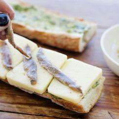 A Solo, Meditative Lunch: Anchovy, Creamy Havarti + Pesto Panini