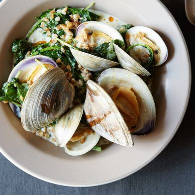 Clams with Cream, Farro, and Baby Kale