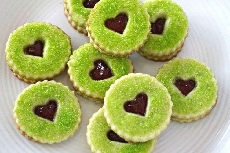 Grinch Heart Raspberry Filled Sugar Cookies