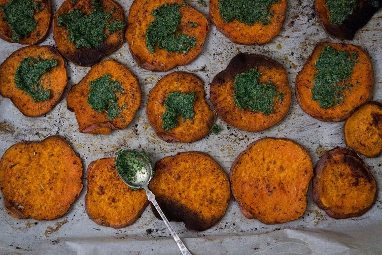 Roasted Sweet Potato with Kale & Walnut Pesto