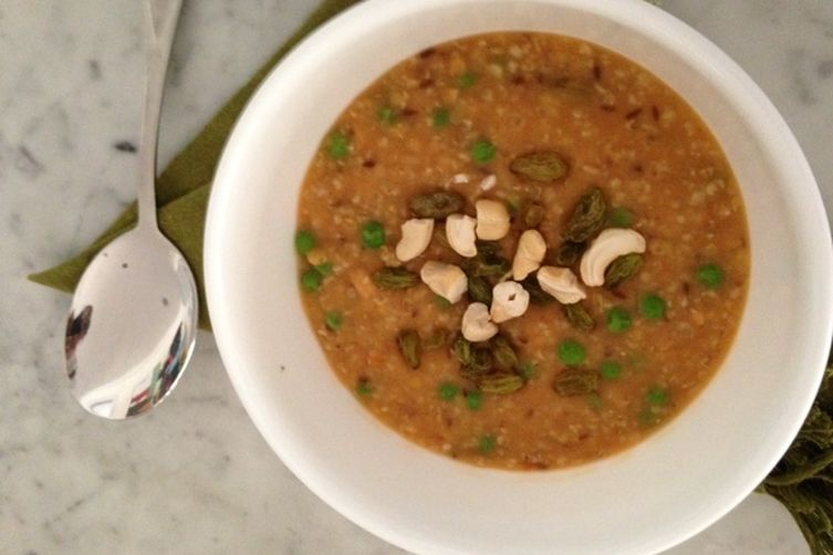 Porridge and red lentils spilt soup