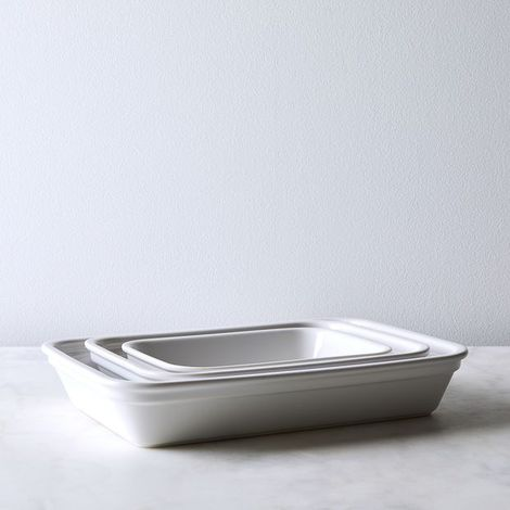 French Porcelain Rectangular Dish (Set of 3)
