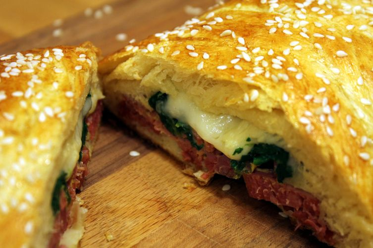 Baked Corned Beef, Spinach, and Swiss Cheese Braid