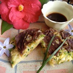 Beef (or Prosciutto Ham) Chive Okonomiyaki with Homemade Chuno Sauce