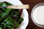 Warm Beet Greens with Sour Cream Dressing