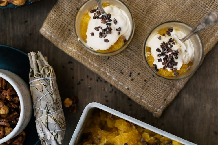pumpkin & spiced rum granita w/ molasses cream + cacao nibs