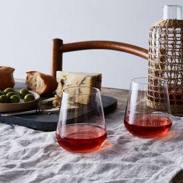 Italian Stemless Wine Glasses (Set of 6)