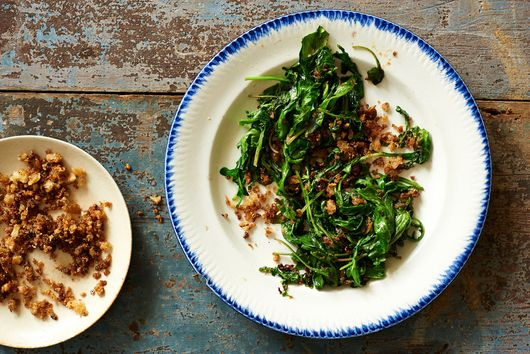 Wilted Arugula with Anchovies and Fried Bread Crumbs