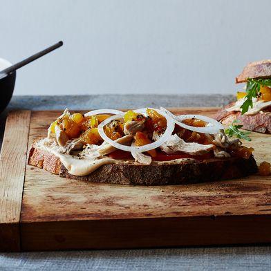 Chicken-Amba (Mango Condiment) Sandwiches with Lime Mayonnaise