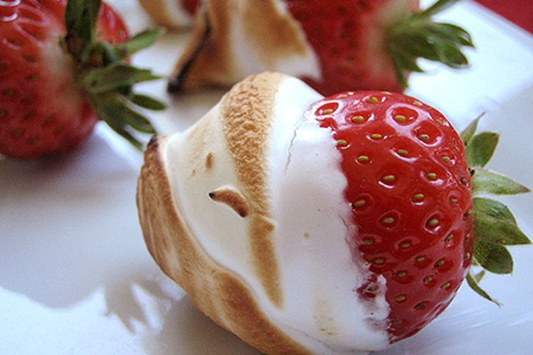 Strawberries in bruleed marshmallow creme