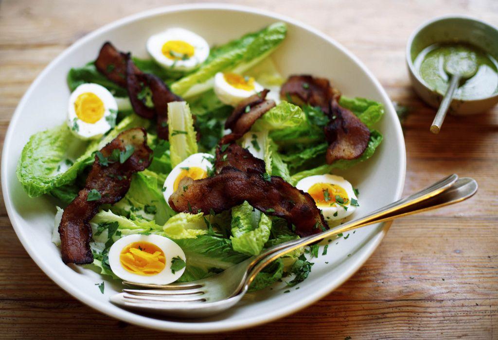 Romaine Salad with Bacon, Eggs, and Pesto Recipe