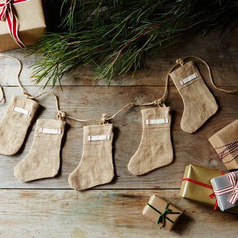 Burlap Mini Stocking Garland