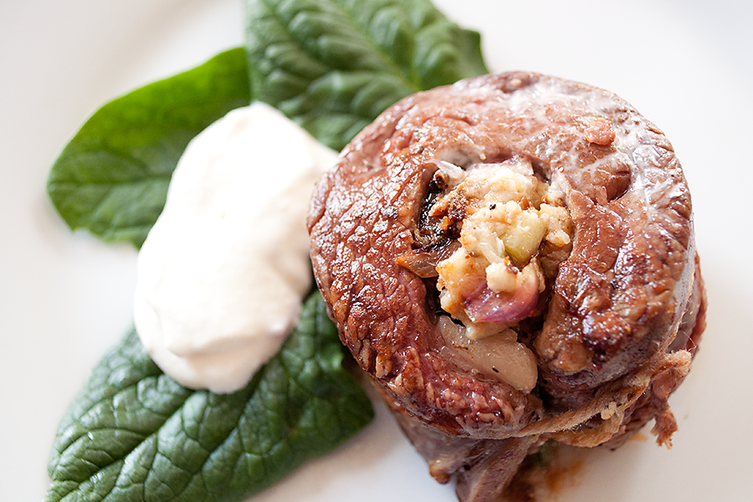 Flank Steak Stuffed with Blue Cheese and Spinach with Creamy Horseradish Sauce
