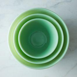 Jadeite Glass 3-Piece Mixing Bowl Set