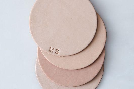 Monogram Leather Coasters (Set of 4)