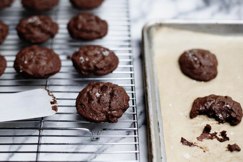 Salted Double-Chocolate Olive Oil Cookies