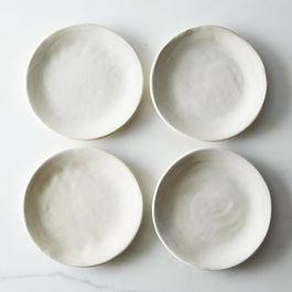 White Crackle Slab Side Plates (Set of 4)