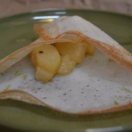 Rice crepes stuffed with spiced poached pears (stuffed aapams)