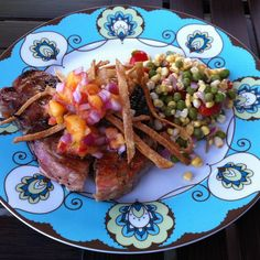 Grilled Pork Chops with Tequila-Lime Nectarine Salsa and Crunchies