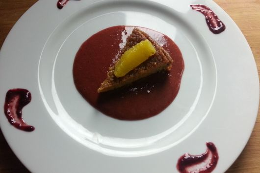 SUGAR - FREE Almond Sweet Potato Cake with Strawberry  Coulis  - SUGAR FREE