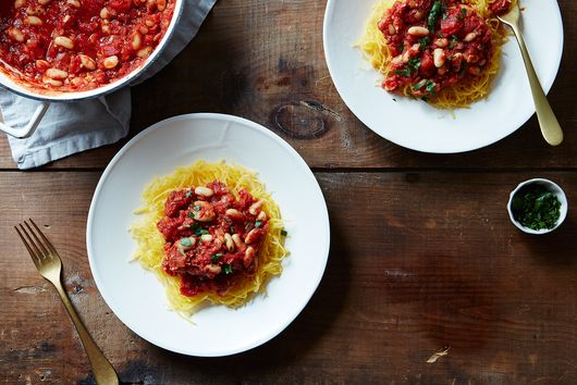 Spaghetti Squash with White Bean Ragu