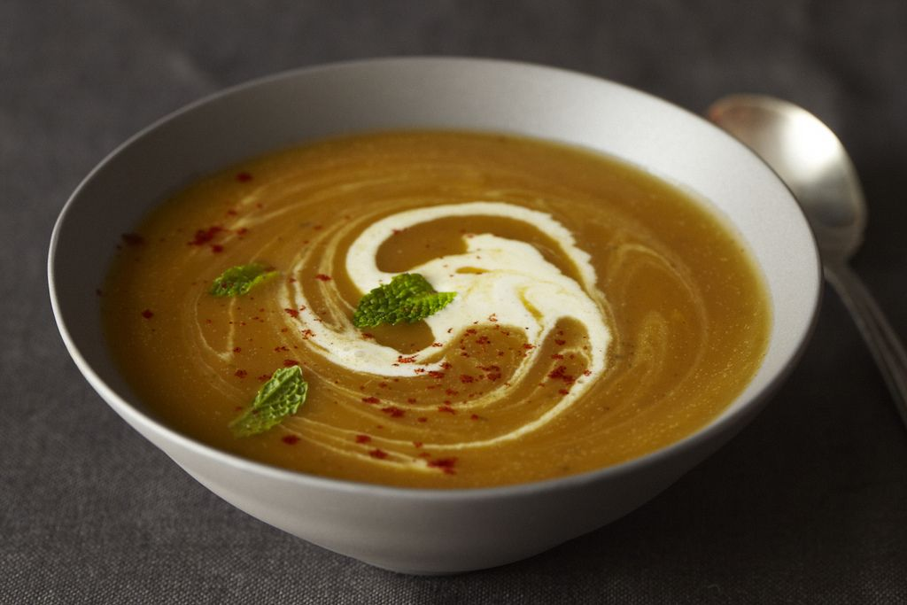 Winter Squash Soup with Red Chile and Mint from Food52