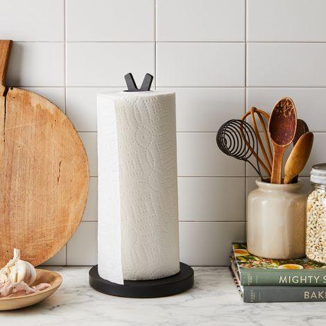 Matte Black Natural Fiber Paper Towel Holder