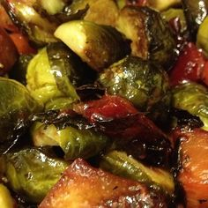 Honey balsamic brussels sprouts with plums