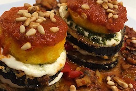 A Nod to Hoboken Italian Delis - Eggplant Neapolitan Tower
