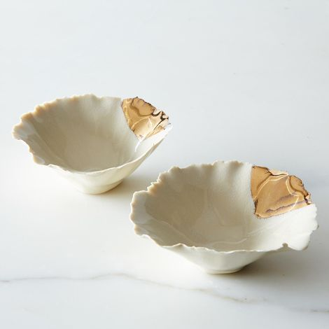 Gold-Dipped Seashell Pinch Bowls (Set of 2)