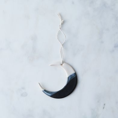 Double-Dip Ceramic Moon Ornament