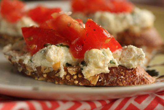 Ricotta-Corn-Basil Crostini with Chopped Tomatoes