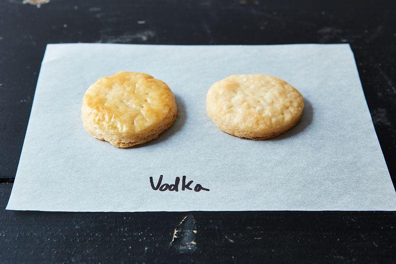 Drunken pie dough. (Egg washed, left; naked, right.)