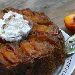 Upside-Down Peach Zucchini Cake
