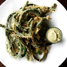 Tempura Garlic Scapes with Garlic Scape Aioli