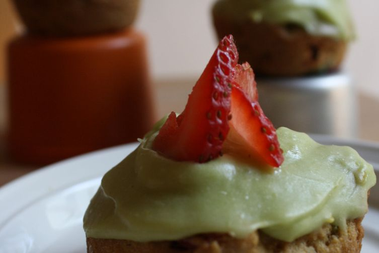 Jalapeño Strawberry Cornmeal Cupcakes with Avocado Frosting