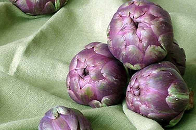 Baby Purple Artichokes Fried in Olive Oil