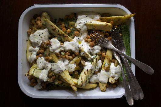 Grilled Summer Squash with Charred Chickpeas, Raisins + Garlic-Yogurt Sauce